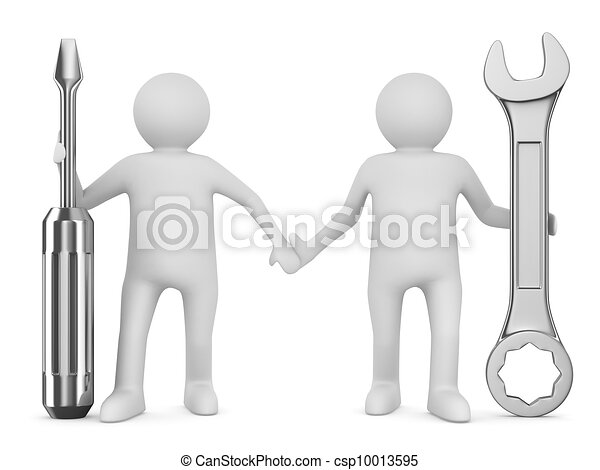 Two man with wrench and screwdriver. Isolated 3D image - csp10013595