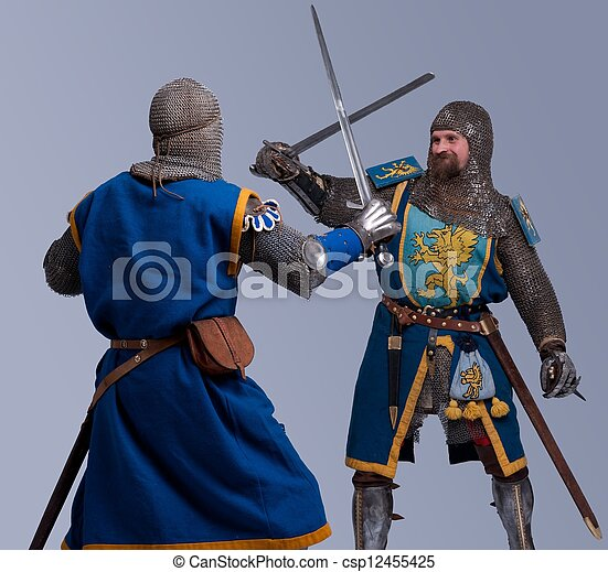 Two medieval knights fighting. - csp12455425