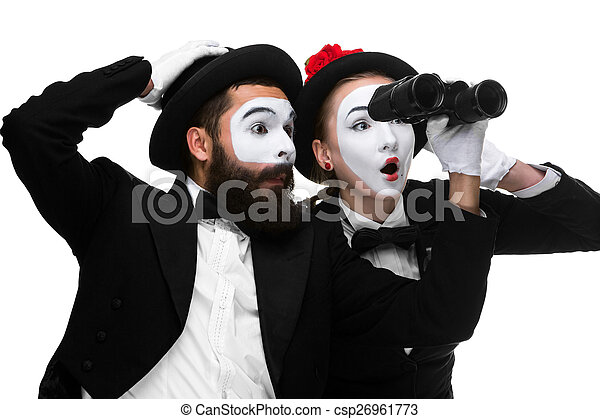 two memes as business people looking picture_csp26961773 two memes as business people looking through binoculars