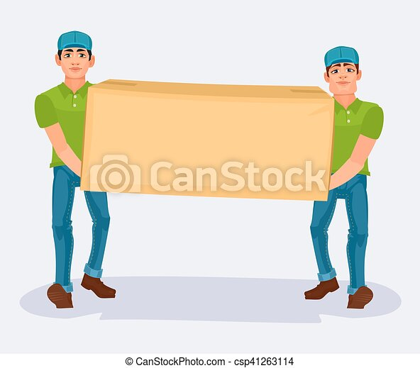 Two men carries a cardboard box - csp41263114