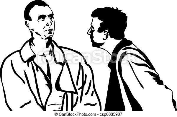 two men talking black and white sketch of men in vectors rh canstockphoto com