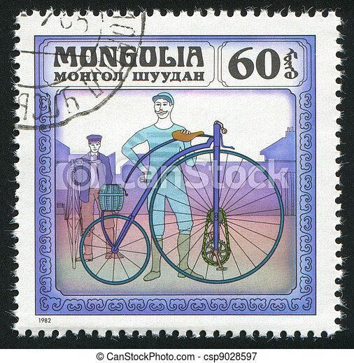 Two Men with Bicycles - csp9028597