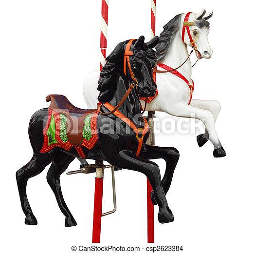 Two Merry-Go-Round Horses - csp2623384