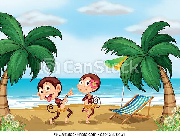 Two monkeys wearing a hawaiian attire - csp13378461