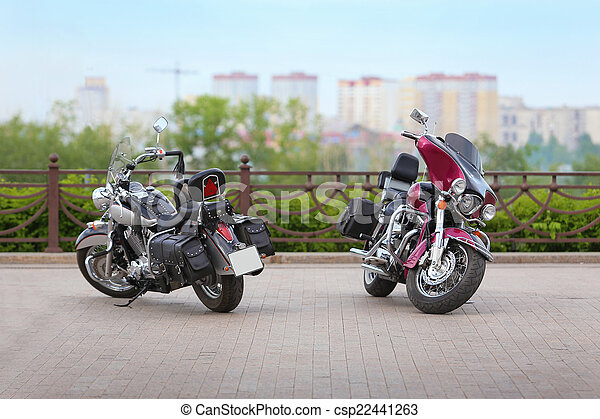 two motorcycles on parking - csp22441263