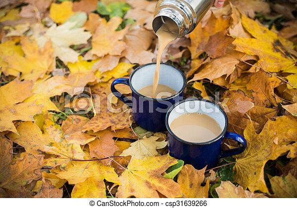 two mugs of hot coffee - csp31639266
