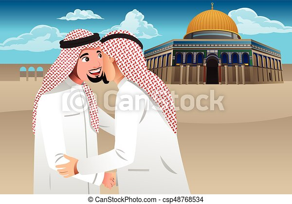 Two Muslim Men Embracing Each Other - csp48768534