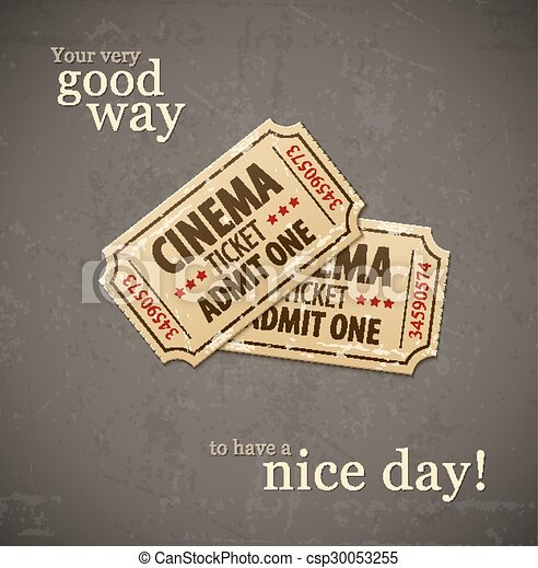 Two old cinema tickets for cinema over grunge background - csp30053255