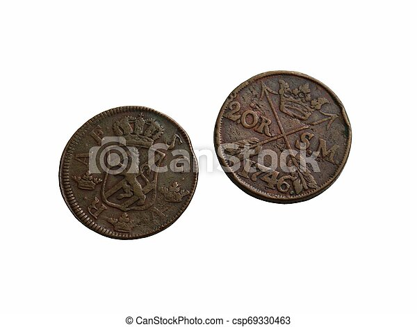 Two old Swedish coins of the 18th century - csp69330463