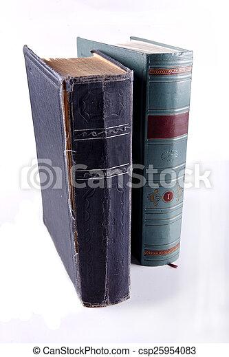 Two old, vintage books in beautiful bindings. - csp25954083