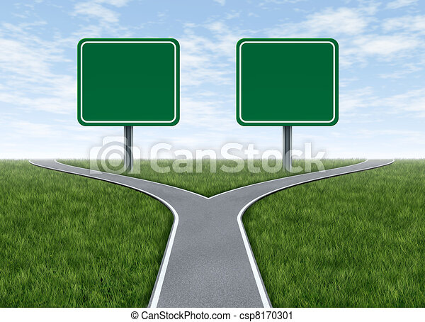 Two options with blank road signs - csp8170301