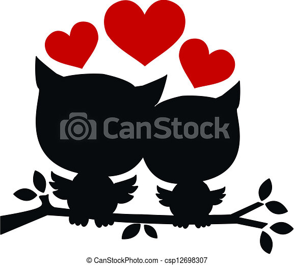 two owls in love - csp12698307