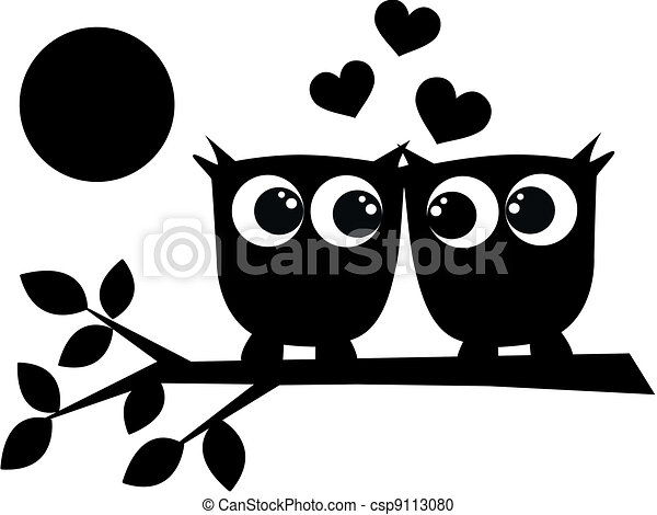 two owls in love - csp9113080