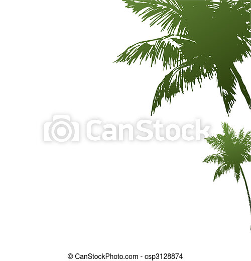 Two palm trees of green colour.Vector illustration - csp3128874