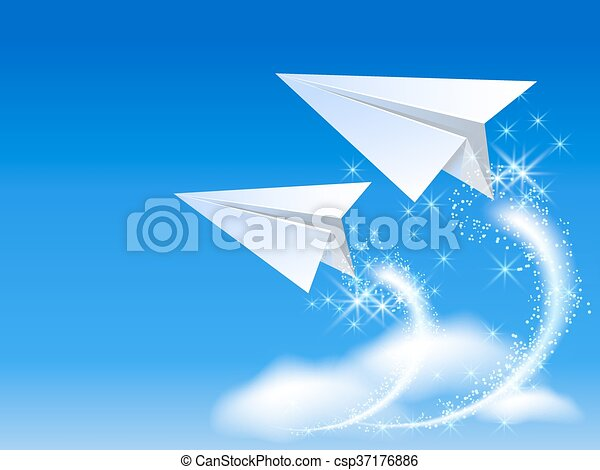 Two paper airplane - csp37176886