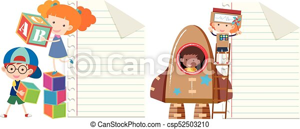 Two paper template with kids playing toys - csp52503210