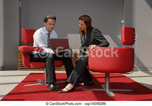 Two People Having A Business Meeting - csp14048286