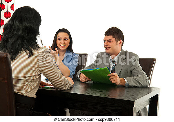 Two people having interview with manager - csp9388711