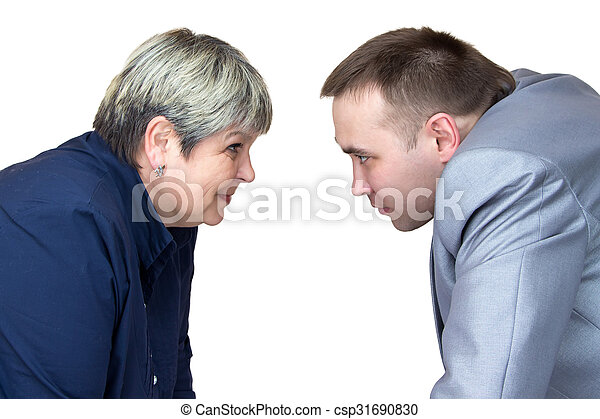 two people looking at each other