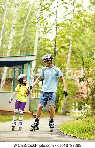 two people rollerblade - csp18797293