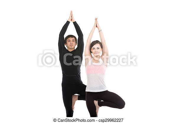 two people standing in vrikshasana yoga pose two sporty