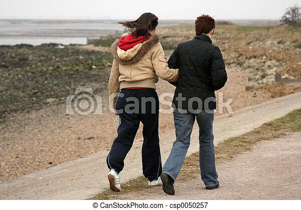 Two people walking - csp0050257