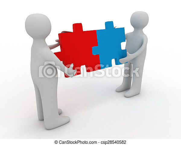 Two person matching puzzle pieces - csp28540582