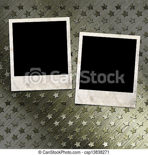 Two photo frames on military grunge background - csp13838271