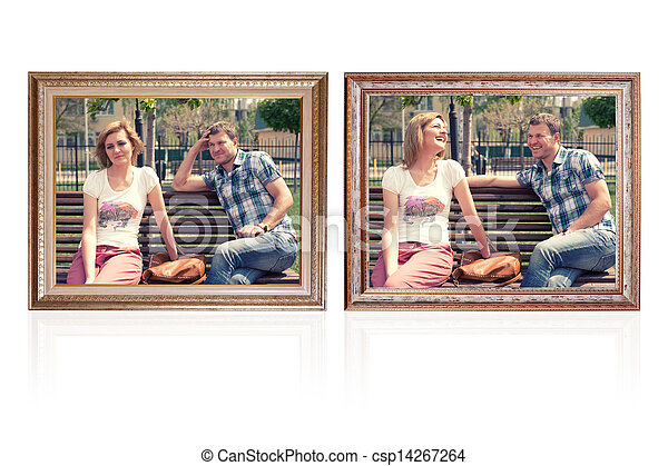 Two photo frames with young couple illustaring happy and sad emotions.