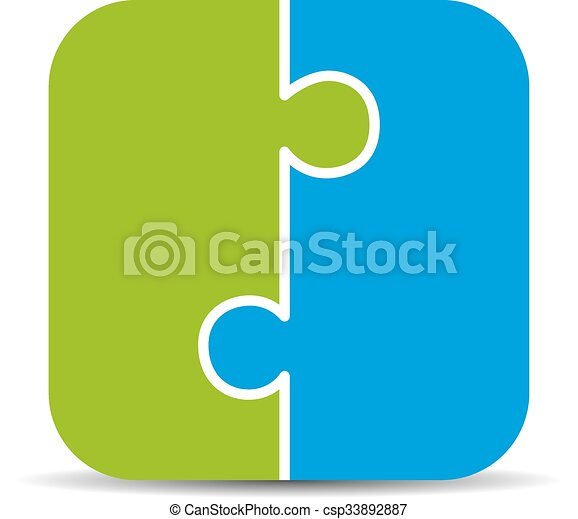 Two piece puzzle diagram isolated on white background vector two piece puzzle diagram isolated on white background ccuart Gallery