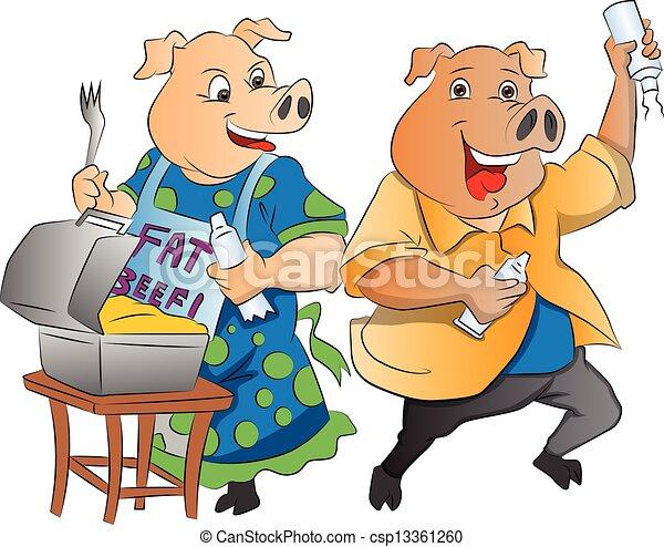 Two Pigs, illustration - csp13361260
