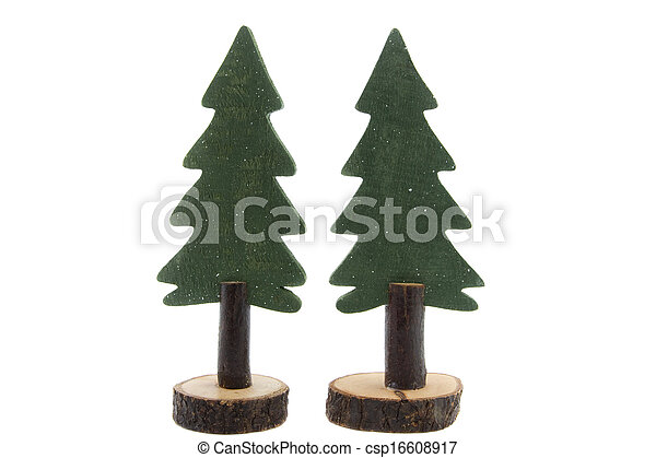 Two Pine Trees Made Of Wood Isolated On White