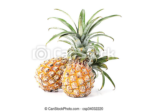 Two pineapple fruits Isolated on white backgrounds - csp34032220