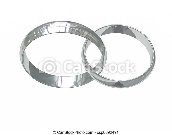 Two Platinum Or Silver Wedding Rings Stock Illustration