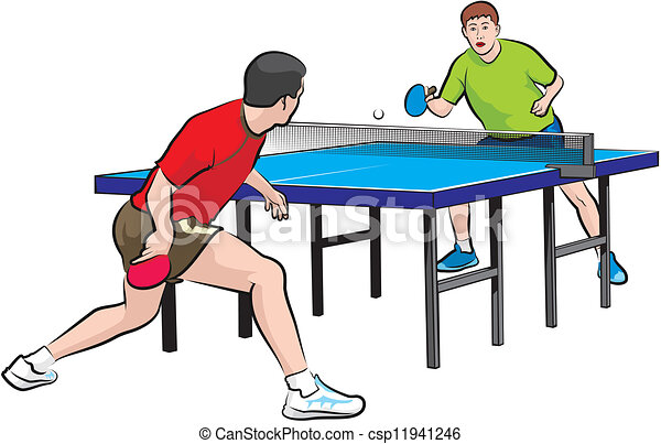 two players play table tennis - csp11941246