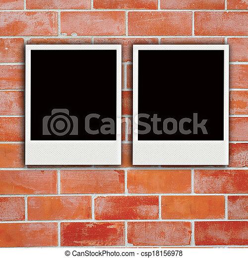 two polaroids with  wooden texture - csp18156978