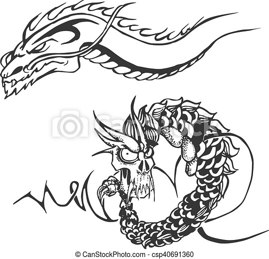 two powerful dragons for tattoo stencils set of two black and white
