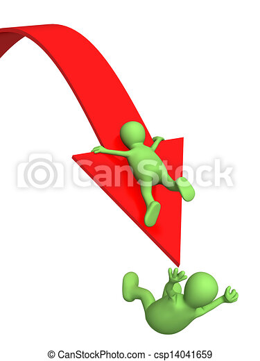 Two puppets, falling from an arrow - csp14041659