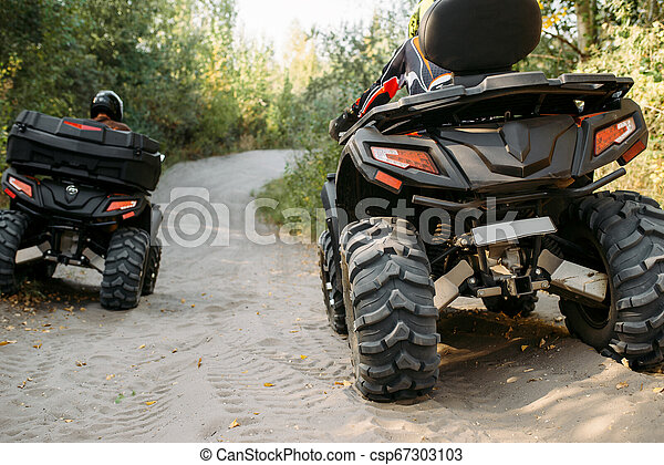 Two quad bike riders rides in forest, back view - csp67303103