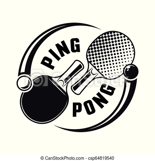 Two Rackets For Ping Pong Vector Logo Concept Two Rackets For