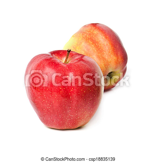 two red apples on a white background - csp18835139
