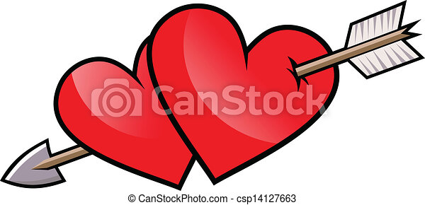 Two red heart with arrow vector for Clipart cuore