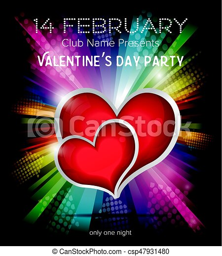 Two Red Hearts On Rainbow Background Happy Valentines Day Party