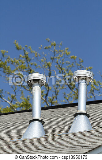 Stock Photo   Two Residential Roof Exhaust Vents