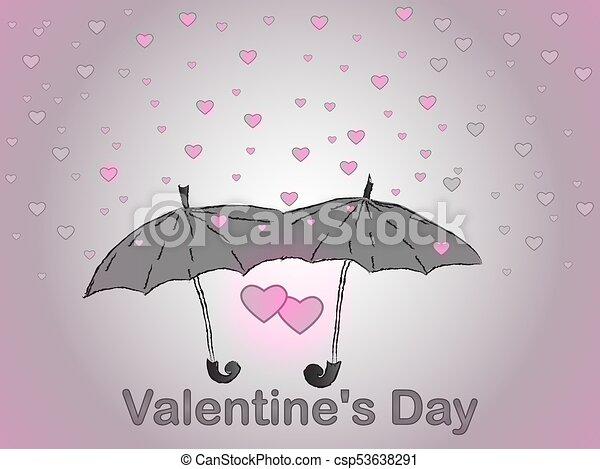 fábrica auténtica seleccione para mejor en venta two., romance., paraguas, valentino, heart., lluvia, day., amor