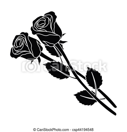 e3c3d8f60 Two Roses Icon In Black Style Isolated On White Background. Funeral  Ceremony Symbol Stock Vector