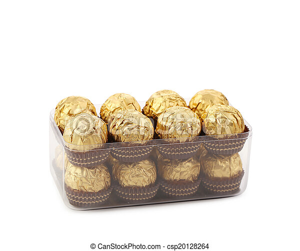Two rows of chocolate bonbons in box. - csp20128264
