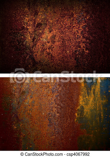 two rusty iron plate - csp4067992