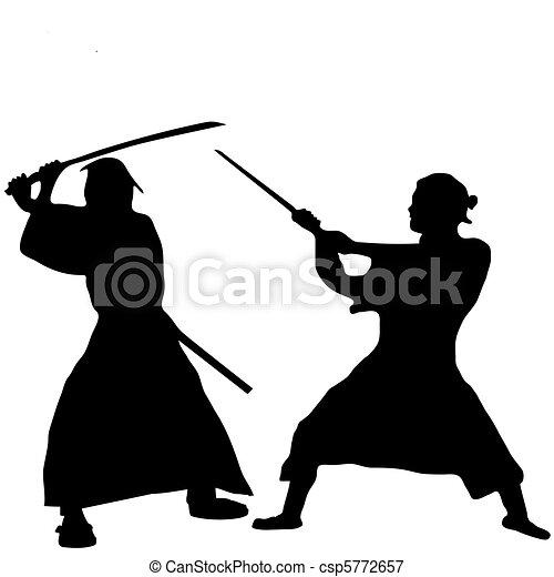 Two Samurai fighter silhouette - csp5772657