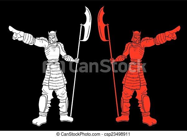 Two samurai vector - csp23498911